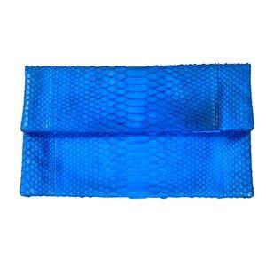 Genuine Python Blue Dyed Clutch
